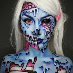 Zombie Makeup Looks for Halloween to Horrify Everybody ★ See more: https://makeupjournal.com/zombie-makeup-halloween-looks/ #nails