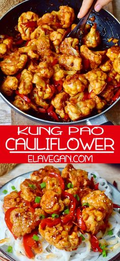This Kung Pao Cauliflower is a delicious stir-fry which is spicy, hearty, satisfying, and comforting. It& a great meat-free Chinese takeout alternative to Kung Pao Chicken! The Kung Pao sauce has the perfect combination of spicy, salty and sweet flavors Low Calorie Dinners, No Calorie Foods, Low Calorie Recipes, Vegan Dinners, Meat Recipes, Seafood Recipes, Whole Food Recipes, Cooking Recipes, Healthy Recipes