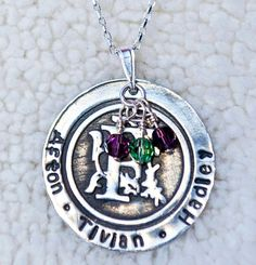 Monogram With Family Names and Swarovski Element Birthstone Beads Custom Sterling Silver Necklace ( Mom Necklace )