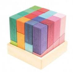 The colourburg is a cube if you sort colours and forms of the blocks into the frame. It is wonderful to create cities, towers, palasts and houses with this modern building blocks! 32 building blocks in a wooden frame.