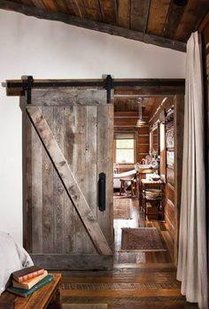 "Rustic cabin barn door - ""A Boyhood Dream Comes True"" with this Montana cabin - . Rustic cabin barn door – ""A Boyhood Dream Comes True"" with this Montana cabin – Cabin Life Journal Log Home Interiors, European Home Decor, Log Cabin Homes, Log Cabins, Barn Homes, White Walls, My Dream Home, House Design, Door Design"