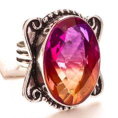 BI-COLOR-TOURMALINE-GEMSTONE-925-SILVER-JEWELRY-RING-6-25 Sterling Silver Jewelry, 925 Silver, Tourmaline Gemstone, Jewelry Rings, Gemstone Rings, Gemstones, Handmade, Color, Hand Made