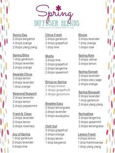 best spring essential oil diffuser recipes and blends - click for FREE PRINTABLE you can use for yourself, share with you team, or use as a handout for make & take class