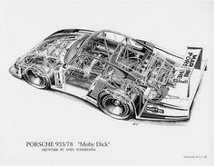 "Porsche ""Moby Dick"" - Shin Yoshikawa's Cutaway Drawing Porsche 935, Porsche Motorsport, Porsche Cars, Road Race Car, Race Cars, Race Racing, Cutaway, Volkswagen, Martini Racing"