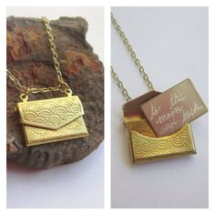 Vintage raw brass* envelope holds a small brass letter that I will engrave with your secret message. Write a reminder to yourself, or a love