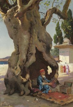 Rudolf Ernst (Austro-French, Cobbler in the Shade of a Baobab Tree Oriental People, Middle Eastern Art, Arabian Art, Baobab Tree, Islamic Paintings, Ancient Art, Islamic Art, American Artists, Find Art