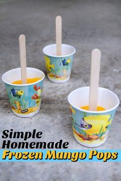 Healthy and simple summer treat! Toddler friendly frozen mango pops //rightstart.com
