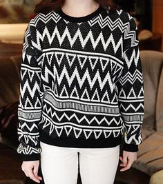 $11.20 Vintage Round Neck Long Sleeve Geometric Pattern Sweater For Women