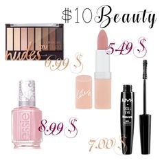 """My beauty"" by emma-swon ❤ liked on Polyvore featuring Rimmel, NYX, Essie and 10dollarbeauty"