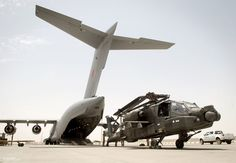 AH64 Apache Helicopter Being Transported from Afghanistan Back to the UK