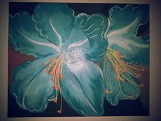 Tropical blue flowers... completed in 3 days.