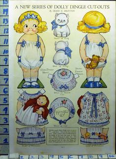 1919 Dolly Dingle Paper Doll Grace Drayton Cat Kitty Series Cutout Ad AI81 | eBay