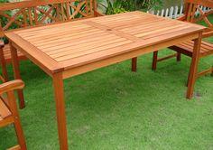 Eucalyptus Patio Table, Outdoor Furniture, Wood Dining Set, Eucalyptus Furniture