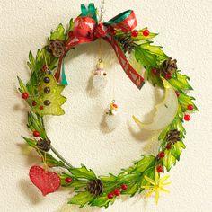 簡単なディップアート(アメリカンフラワー)作り方解説。今回は「クリスマスリース」を作ります。