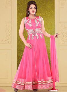 Beautiful Pink #Net Ankle Length #Anarkali Suit