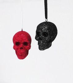 Red and black glitter skull tree ornaments | Halloween Tree | Christmas Tree