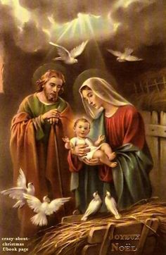 Lord Jesus in the arms of His mother, Mary, and St. Christmas Nativity Scene, Christmas Scenes, Christmas Pictures, Christmas Eve, Religious Pictures, Jesus Pictures, Blessed Mother Mary, Blessed Virgin Mary, Catholic Art