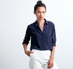 Navy Blouse and White Pants