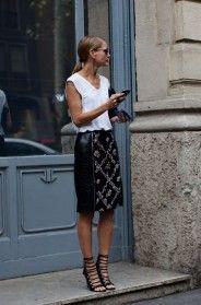 minimalist styling, baroque skirt//street style, milan