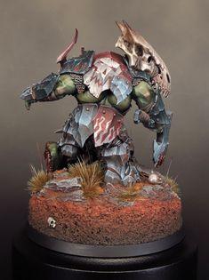 "Orruk Megaboss by David Soper ""Sproket"" · Putty&Paint Warhammer Aos, Warhammer Models, Warhammer Fantasy, Warhammer 40000, Fantasy Paintings, Mini Paintings, Photo Avion, Miniature Bases, Orks 40k"