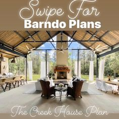 """Stacee Lynn on Instagram: """"Welcome to Barndominium Envy Friday's!!! Today, I'm sharing my barndo plans with all of you!  The Creek House Plan . Details: Three…"""" Brown Cabinets, Modern Barn, Barndominium, Envy, House Plans, Pergola, New Homes, Farmhouse, Outdoor Structures"""