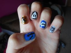 I did fandom nails!!! Percy Jackson, The Hunger Games(I'm still working on them lol) ,Harry Potter, The Fault In Our Stars, and The Mortal Instruments.