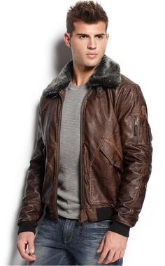 GUESS Faux Leather Aviator Jacket, Fly high in this classic leather aviator jacket by GUESS, featuring a plush faux fur collar for extra swag.