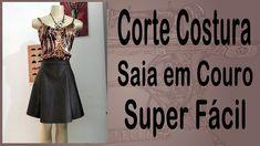 Corte e Costura passo-a-passo Saia Evasê - Saia de Couro - Super Fácil Textiles, Pattern Making, Saint Laurent, Sewing Diy, My Style, How To Make, Videos, Youtube, Face Towel