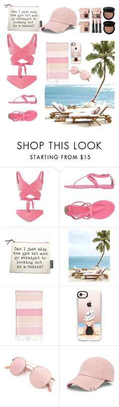 """beach nude"" by aniadratwicka ❤ liked on Polyvore featuring Paolita, Colors Of California, Linum Home Textiles, Casetify, Bobbi Brown Cosmetics and Forever 21"