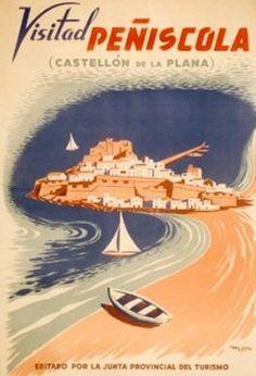 Vintage Travel Poster - Visitad Peñiscola - Castellon de la Plana - Spain - 1945.