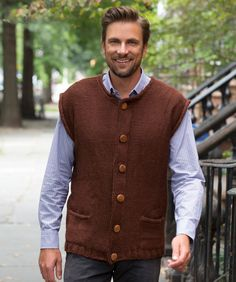 Perfect for Oktoberfest or for any fall event, this vest knit in wool-blend yarn will keep you warm.