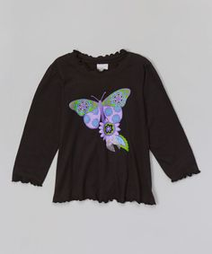 Love this Black Butterfly Lettuce-Edge Tee - Toddler on #zulily! #zulilyfinds