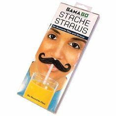 GAMA GO MOUSTACHE STACHE STRAWS - 6 X REUSABLE MOUSTACHE CLIPS - BNIP