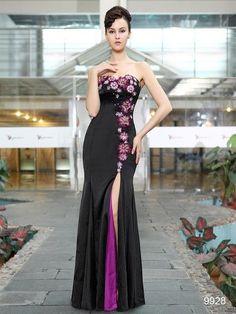 Elegant Strapless Flowers Sequins Slitted Trailing Evening Dress