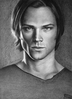 Hello everybody! I hope you are all well. It feels ages since my last deviation. My previous portrait was Dean Winchester and . He was asking for his brother sooooo persi. Sam Winchester, Supernatural Drawings, Supernatural Fan Art, Drawing Sketches, Art Drawings, Fanart, Realistic Drawings, Fantastic Art, Destiel