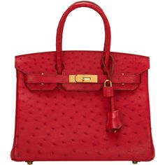 Pre-Owned Hermes Rouge Vif Ostrich Birkin 30cm Gold Hardware ($41,000) ❤ liked on Polyvore featuring bags, handbags, red, red purse, ostrich handbags, ostrich purse, zip lock bags and pre owned purses