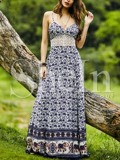 Vestido tirante fino con encaje vintage-(Sheinside)