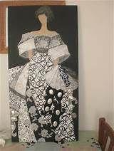 Resultado de imagen para cuadros Infanta Margarita, Japanese Painting, Paint Designs, Figure Painting, Mixed Media Art, Feminine, Glamour, Floral, Crafts