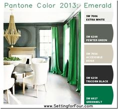 Chip it Palette with Pantone 2013 Emerald from Setting for Four.  Get the skinny here: http://www.settingforfour.com/2013/01/pantone-color-2...