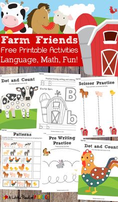 Free Farm Friends Printable Activity Pack: 35 pages of activities for your child to learn math and language including do-a-dot pages, coloring pages, pre-writing activities, pattern cut and paste, counting, and more. (#preschool #farm #printable)