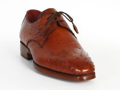 Plain-toe handmade derby shoes for men Tobacco color genuine ostrich leather upper Double leather sole. Bordeaux leather lining. Leather wrapped laces with two