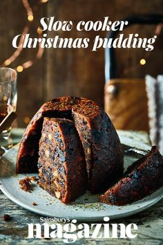 Cook your Christmas pudding in a slow cooker for zero faff and lots of flavour. This delicious recipe features sweet red fruits and a splash of amaretto
