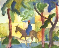 Esel mit Reiter, wasserfarbe von August Macke (1887-1914, Germany)