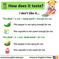 Phrases - How does it taste? Everyone has different likes and dislikes about food. Here are ways to say you don't like a certain food.