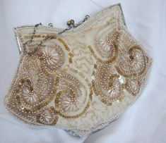 Vintage 1920s Beaded Embroidered Evening Bag w/ by soldiersuzanne, $45.00