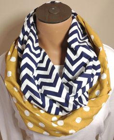 Navy Chevron Mustard Polka Dot Infinity Scarf by ITalkofDreams, $20.00