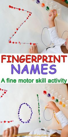 here is a quick amp easy toddler or preschooler activity decorating their name using their fingerprints toddleractivity preschooleractivity finemotorskills - PIPicStats Motor Skills Activities, Letter Activities, Preschool Learning Activities, Fun Learning, Toddler Activities For Daycare, Toddler Preschool, Educational Activities For Preschoolers, Preschool Education, Free Preschool