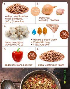 Kasza gryczana z pieczarkami i papryką w curry. Dinner Recipes, Lunch Box, Food And Drink, Healthy Eating, Beef, Vegan, Vegetables, Cooking, Instagram