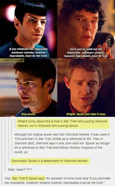 Omg <---- no, you dont understand... Susan, the Doctor's granddaughter,  fell in love with a human. What if Sherlock is their descendent? It explains the intellectual prowess of our favorite consulting detective, and, besides, Spock being part Time Lord would be awesome!!!!!!