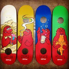 Almost Skateboards Impact Plus series Spring 14 now available. Chris Haslam Wind Breaker 8.5 x 32.0 x 14.5 wheelbase; Cooper Wilt 4 Lewis 8.25 x 31.5 x 14.0 wheelbase; Daewon Song Last Call 8.0 x 31.6 x 14.0 wheelbase; Rodney Mullen Up Chuck 7.75 x 31.1 x 13.88 wheelbase #ImpactPlus #PopStrongerLonger